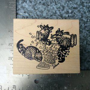 Kliban Cats Rubber Stamp...3 Happy Cats